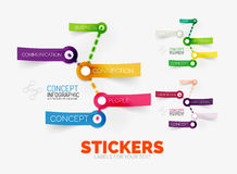 Vector diagram elements set with colour paper sticker icons. Translucent plastic style. Can be used as background for any text, icon or message Stock Image
