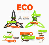 Vector diagram elements set of eco windmill concept icons with plastic paper style stickers. For text. Internet or web banner layout vector illustration