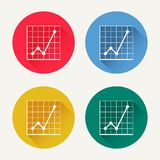 Vector diagram icon set. Market analysis statistics, business diagrams colored icons. Web design and infographic element. Trendy flat design style with long Stock Photography
