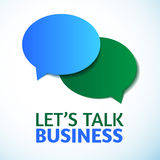 Vector Dialogwolken, lassen Sie uns Geschäft sprechen Lizenzfreie Stockfotos