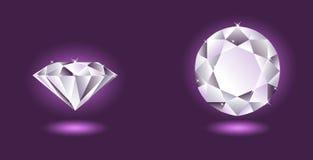 Vector diamant op purpere achtergrond Stock Fotografie