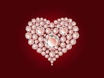 Vector diamanthart op rode achtergrond Royalty-vrije Stock Afbeelding