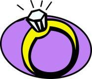 Vector diamond engagement or wedding ring. Vector illustration of an engagement or wedding ring with a shiny diamond Stock Photos