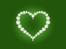 Vector diamond heart on green background Stock Photography