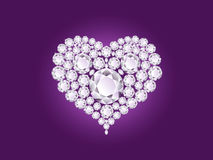 Vector diamond heart on purple background Royalty Free Stock Images