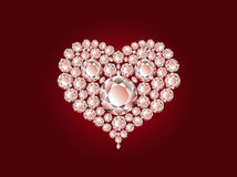 Vector diamond heart on red background Royalty Free Stock Image