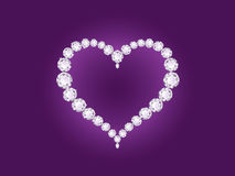 Vector diamond heart on violet background royalty free illustration