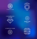 Vector diamond logo set. Royalty Free Stock Photo