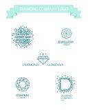 Vector diamond logo set. Royalty Free Stock Photos