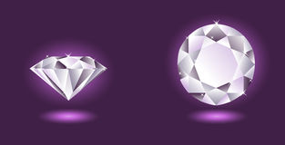 Vector diamond on purple background Stock Photography