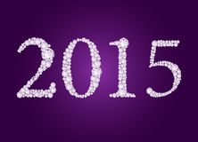 Vector diamond 2015 text. On deep purple background Royalty Free Stock Images