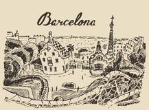 Vector dibujado mano del bosquejo de España del paisaje de Barcelona Foto de archivo libre de regalías