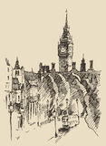 Vector dibujado mano del bosquejo del vintage de Londres Inglaterra ilustración del vector