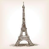 Vector dibujado mano del estilo del bosquejo de la torre Eiffel libre illustration