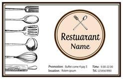 Vector dibujado mano del tyle del vintage del garabato de la tarjeta de presentación del restaurante Fotos de archivo