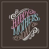 Vector dibujado mano feliz de la tipografía EPS10 del día de madres Imagenes de archivo