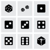 Vector dice icon set. On grey background Stock Photos