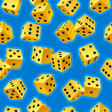 Vector dice seamless background 2. Vector dice seamless background. Yellow on blue Stock Photos