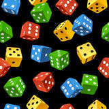 Vector dice seamless pattern isolated on white bac Royalty Free Stock Photography