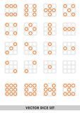 Vector dice set. Various orange dice set royalty free illustration