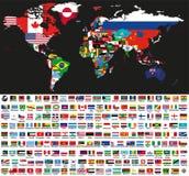 Vector die abstrakte Weltpolitische Karte, die mit Staatsflaggen auf schwarzem Hintergrund gemischt wird Sammlung aller Weltflagg Stockfotografie