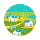 Vector die bunte Illustration des Sommers und reisen, Feiertage Dorf, Häuser, Bäume scape Ansicht lizenzfreie abbildung
