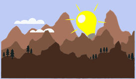 Vector die de ontdekking van een nieuwe idee of een oplossing afschilderen als zonstijging Royalty-vrije Stock Foto