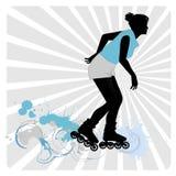 Vector die een meisje trekt op rol-vleten stock illustratie
