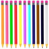 Vector die een reeks multi-colored potloden op de witte achtergrond trekken royalty-vrije illustratie