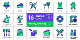 Vector die Entwurfsikonensammlung der Bäckerei und kochen Modernes outli stock abbildung
