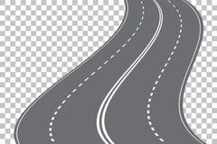 Vector die die four-lane weg winden op transparante achtergrond wordt geïsoleerd royalty-vrije illustratie