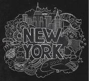 Vector die Gekritzelillustration, die Architektur und Kultur von New York zeigt Abstrakte Hintergrundtafel mit der Hand gezeichne Lizenzfreie Stockfotografie