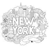 Vector die Gekritzelillustration, die Architektur und Kultur von New York zeigt Abstrakter Hintergrund mit dem Hand gezeichneten  Stockbilder
