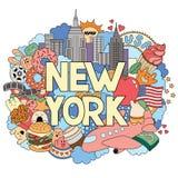 Vector die Gekritzelillustration, die Architektur und Kultur von New York zeigt Abstrakter Hintergrund mit dem Hand gezeichneten  Lizenzfreie Stockfotografie