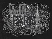 Vector die Gekritzelillustration, die Architektur und Kultur von Paris zeigt Abstrakte Hintergrundtafel mit der Hand gezeichnet Stockbilder
