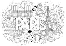 Vector die Gekritzelillustration, die Architektur und Kultur von Paris zeigt Abstrakter Hintergrund mit Hand gezeichnetem Text Pa Stockbilder