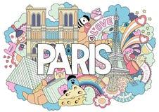 Vector die Gekritzelillustration, die Architektur und Kultur von Paris zeigt Abstrakter Hintergrund mit Hand gezeichnetem Text Pa Stockfotografie