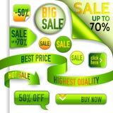 Vector die grünen und gelben Rabattelemente Stockfotografie