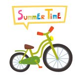 Vector die groene geïsoleerde fiets berijden op witte achtergrond Beeldverhaal B Royalty-vrije Stock Afbeelding