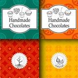 Vector die handgemachten Schokoladen, die Schablonen und Gestaltungselemente für Süßigkeitsshop - Pappe mit Emblemen und Logos ve Lizenzfreie Stockfotos