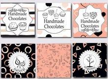 Vector die handgemachten Schokoladen, die Schablonen und Gestaltungselemente für Süßigkeitsshop - Pappe mit Emblemen und Logos un Stockfotografie