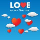 Vector die Herz geformten Ballone, die über den Himmel fliegen Stockbild