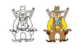 Vector die humoristisch karikatuurkarakter kleuren Boze bewapende Sheriffcowboy met revolvers, geweren en een hoed vector illustratie
