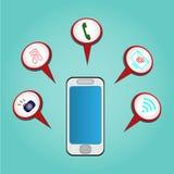Vector die Ikone, die, um in der Arbeit zu helfen beweglich und verfügbar ist? - Technologiekonzept Stockfotografie