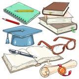 Vector die Ikonen, die für Studenten, Studentenkappe, Rolle mit Dichtung gefärbt werden Lizenzfreie Stockfotografie