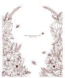 Vector die Illustration Blumenrahmen zentangle und kritzeln Stockfotos