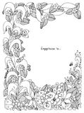 Vector die Illustration Blumenrahmen zentangle und kritzeln Stockfoto