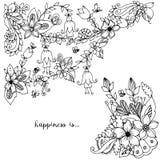 Vector die Illustration Blumenrahmen zentangle und kritzeln Lizenzfreie Stockfotos