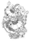 Vector die Illustration Blumenrahmen zentangle und kritzeln Zenart, Gekritzel, Blumen, Schmetterlinge, empfindlich, schön Stockbild
