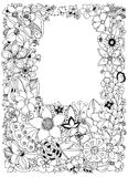 Vector die Illustration Blumenrahmen zentangle und kritzeln Zenart, Gekritzel, Blumen, Schmetterlinge, empfindlich, schön Lizenzfreies Stockbild